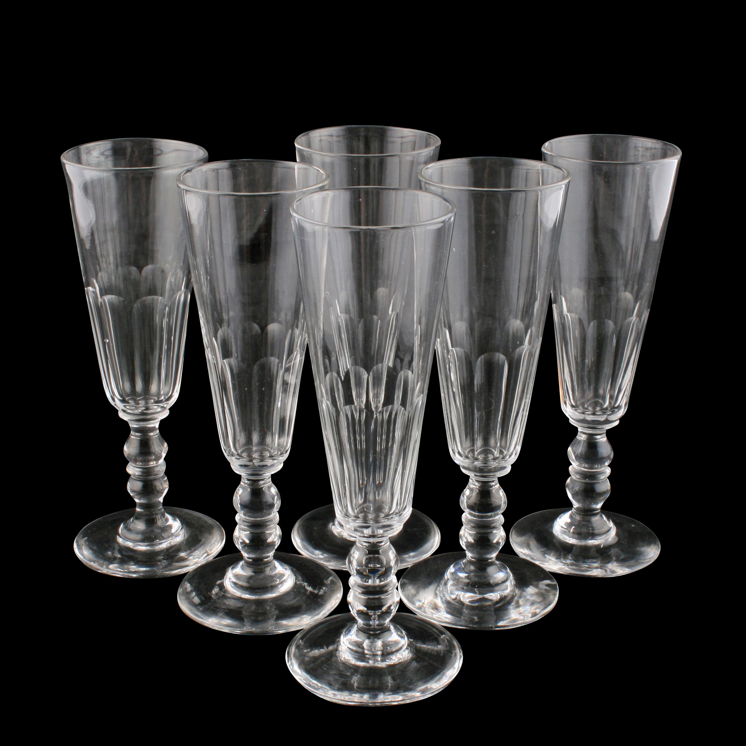 Antique Champagne Glasses - Set Of Six Champagne Flutes
