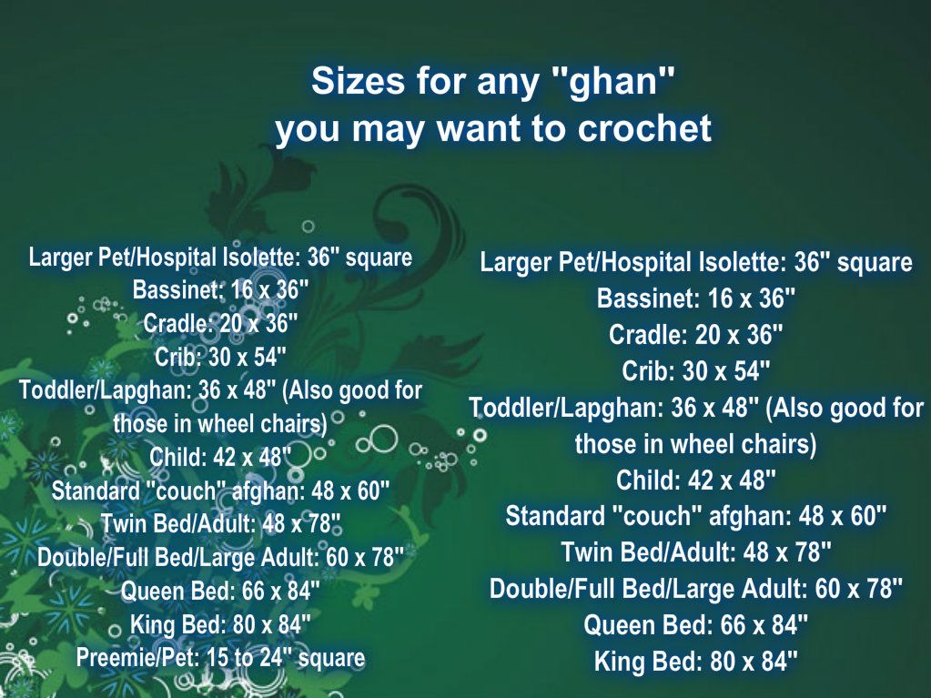 Ever wonder what size to make your Lapghan/Afghan? Here is a handy chart I found and made it easy to read. :)