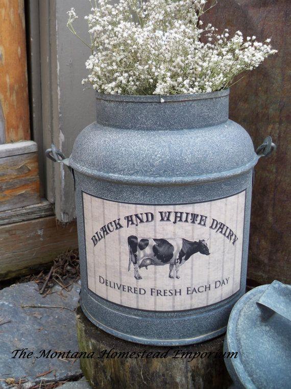 Rustic Metal milk can vintage look Milk by TheMontanaHomestead ...