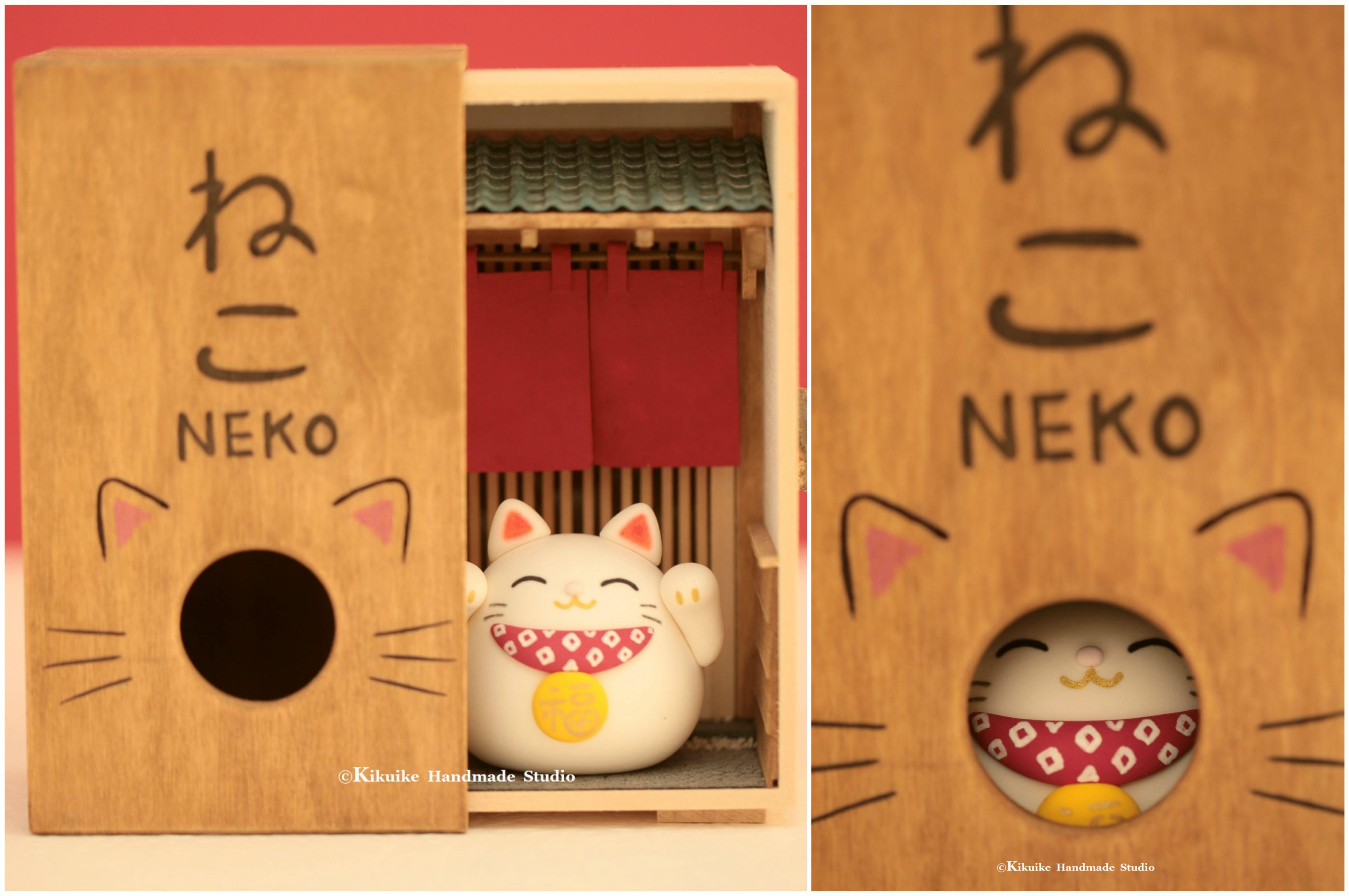 Handmade Lucky Cat Decor,DIY Dollhouse,Japanese Style Dollhouse,handmade  Lucky Cat,DIY Miniature,handmade Home Deco,handmade Art Dolls