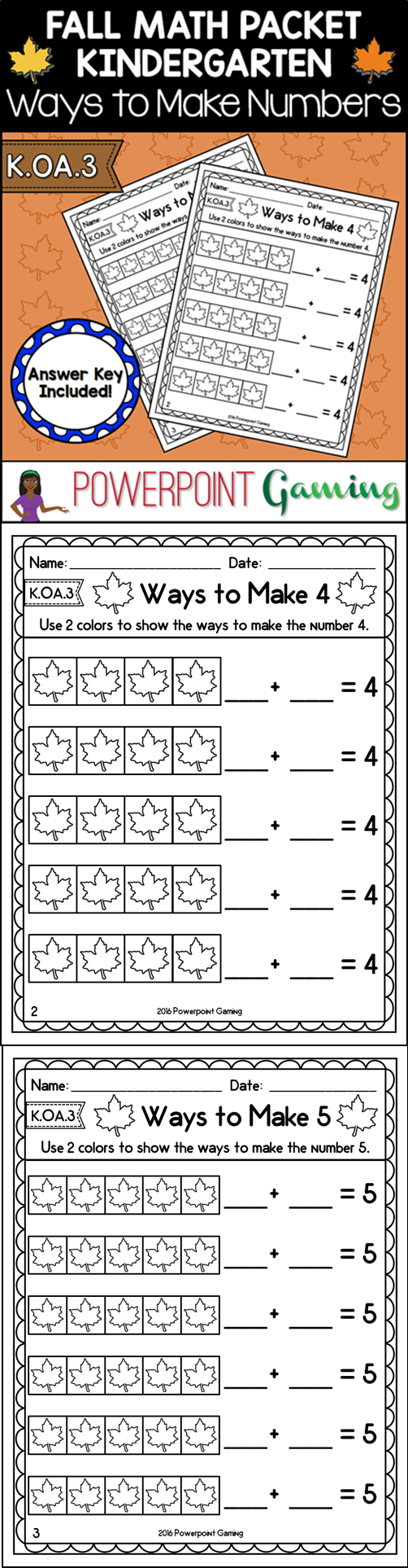 worksheet Ways To Make A Number Worksheet ways to make number fall worksheets k oa 3 equation 3
