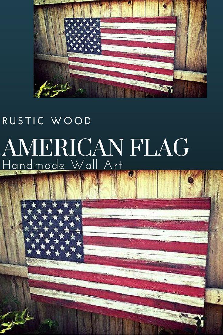 Handmade wooden wall american flag rustic country love diy craft