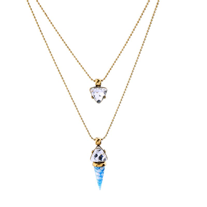Double Layer Thin Small Beads Chain Simple Necklace Jewelry ...