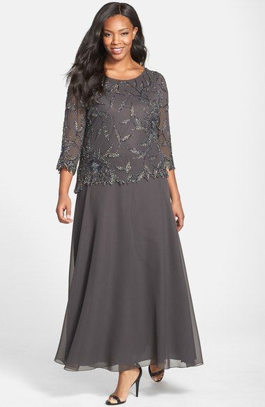 J Kara Embellished Mock Two Piece Gown Plus Size Available At