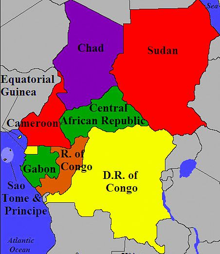 Central Africa countries. | Central Africa | African nations