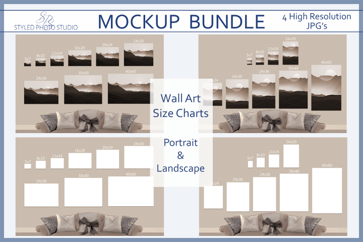 Size Chart Poster Mockup Landscape Portrait Picture Sizes Styled Photo Studio Tools And Elements Mock Ups Poster Mockup Portrait Pictures Picture Sizes