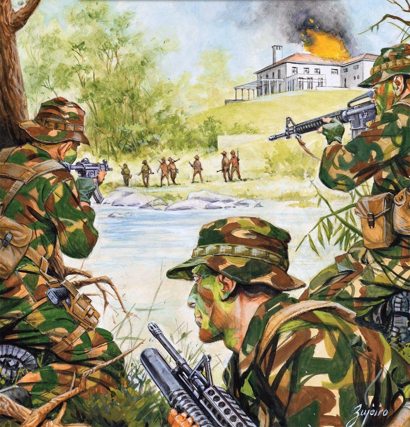 US special forces ambushing a Vietcong patrol | Vietnam War Art ...