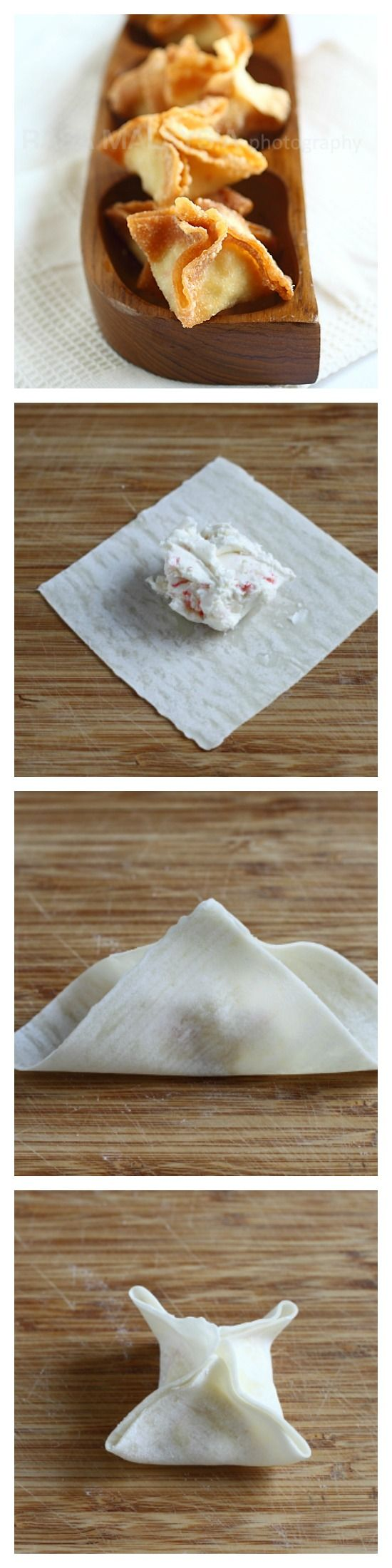 Crab Rangoon or fried cream cheese wontons with only 3 ingredients! Step-by-step recipe how to make this amazing appetizer at home. http://rasamalaysia.com