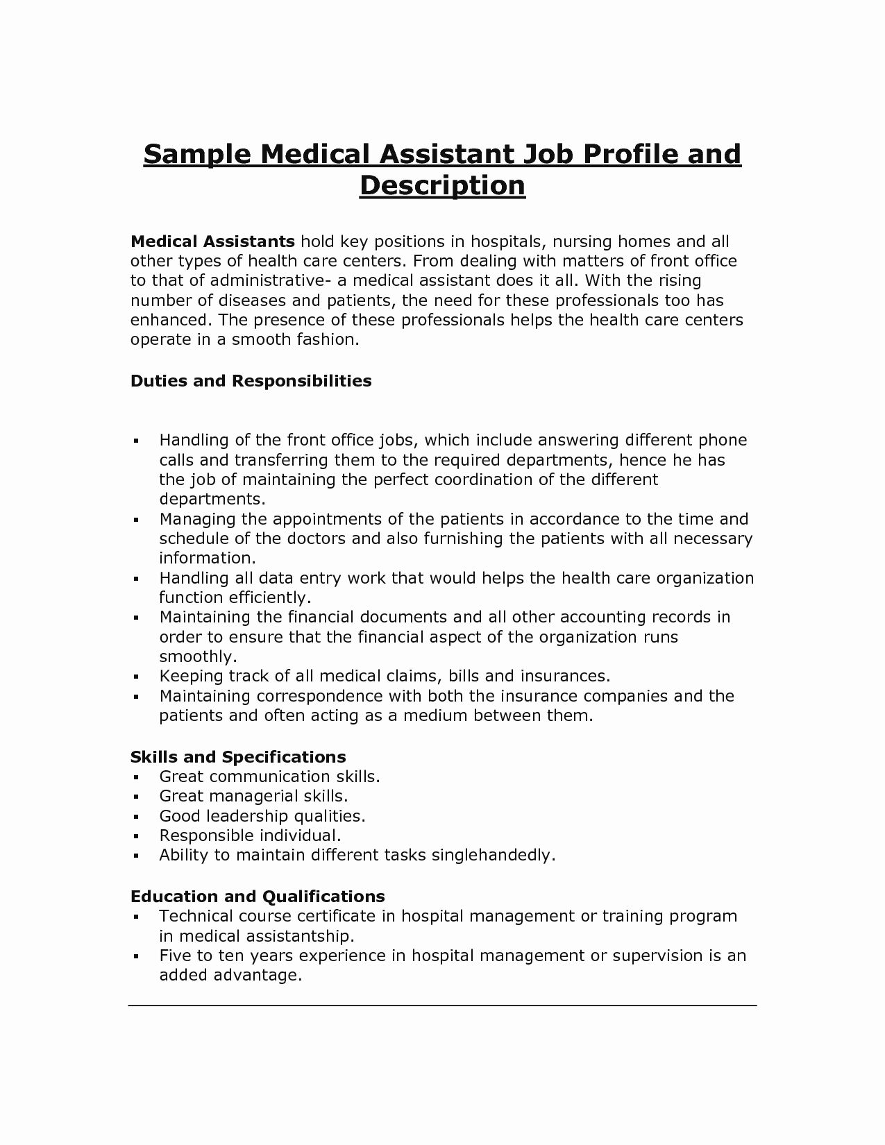 20 Concierge Job Description Resume Medical assistant