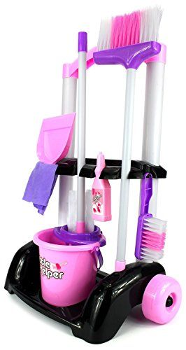 Casdon Hetty Pink Cleaning Trolley Toy For Kids-Mop//Brush//Broom//Bag
