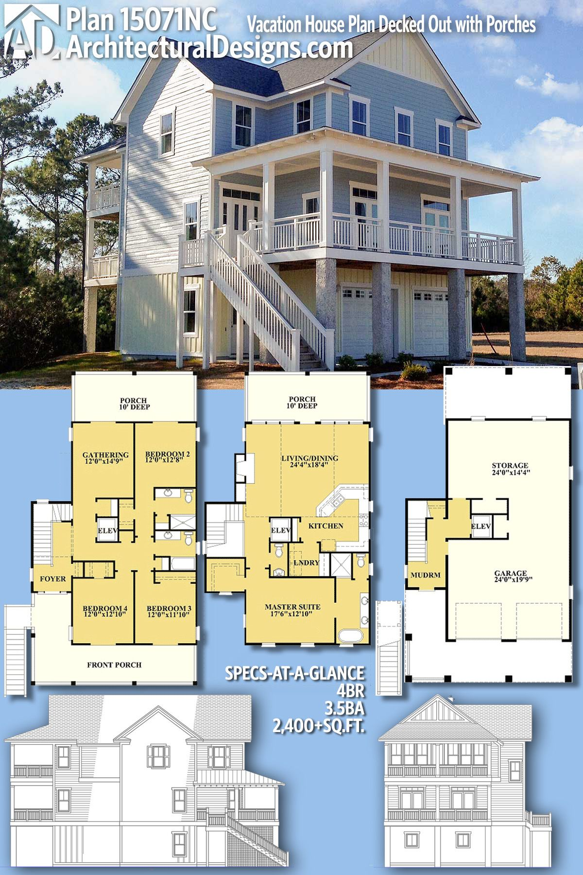 Plan 15071nc Vacation House Plan Decked Out With Porches Beach House Floor Plans Vacation House Plans Beach House Plans