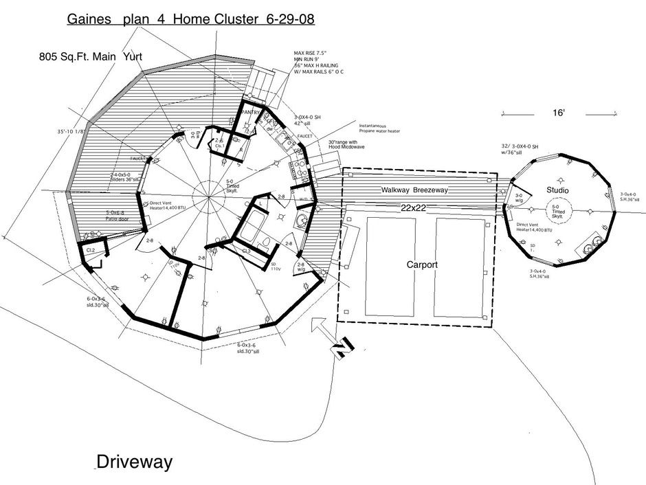 Gaines Plan 4 Cluster Round house, Yurt, Earthship home