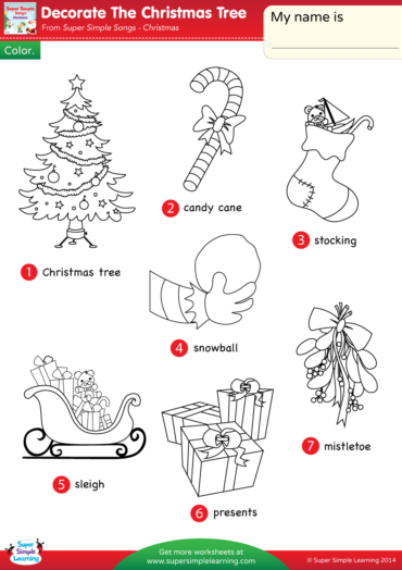 Decorate The Christmas Tree Super Simple Songs Christmas Worksheets Christmas Cards Drawing Color Worksheets