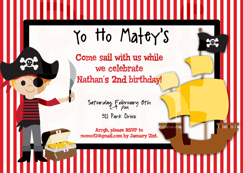 Pirate Party Birthday Invitation Pirate Birthday Party Invitation ...