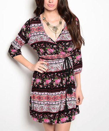 Love this Black Floral Tie-Waist Surplice Dress on #zulily! #zulilyfinds