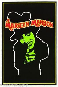 Poster Music Marilyn Manson Blacklight Flocked Free Ship 1694f Rp61 H Black Light Posters Marilyn Manson Vintage Posters