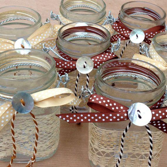 Hanging Lantern Glass Jam Jar Candle Holders Vintage