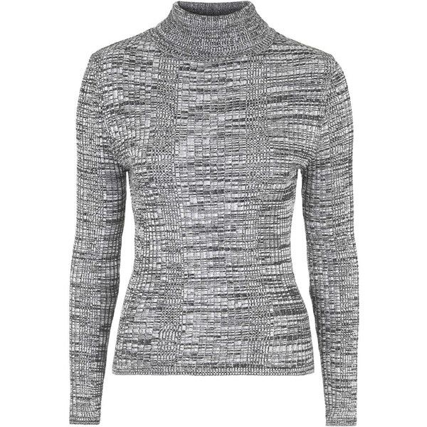 TopShop Ribbed Roll Neck Jumper (15 BRL) ❤ liked on Polyvore featuring tops, sweaters, jumpers, shirts, monochrome, snug top, topshop shirt, roll neck sweater, ribbed sweater and roll-neck sweaters