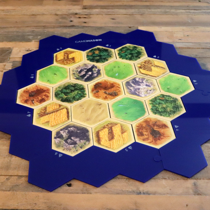 Custom 6piece Blue Hex Border for Settlers of Catan in