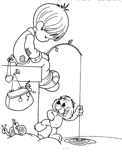 Child fishing in the lake coloring pages | coloreando | Pinterest ...