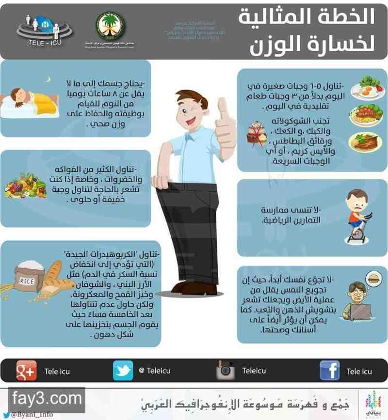 الخطة المثاليه لخسارة الوزن تخسيس انفوجرافيك Health Facts Fitness Health Fitness Food Gym Workout For Beginners