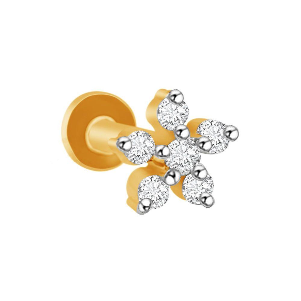 Xmas Gift 0 12 Ct Diamond Flower Screw Back Stud Nose Pin 14k