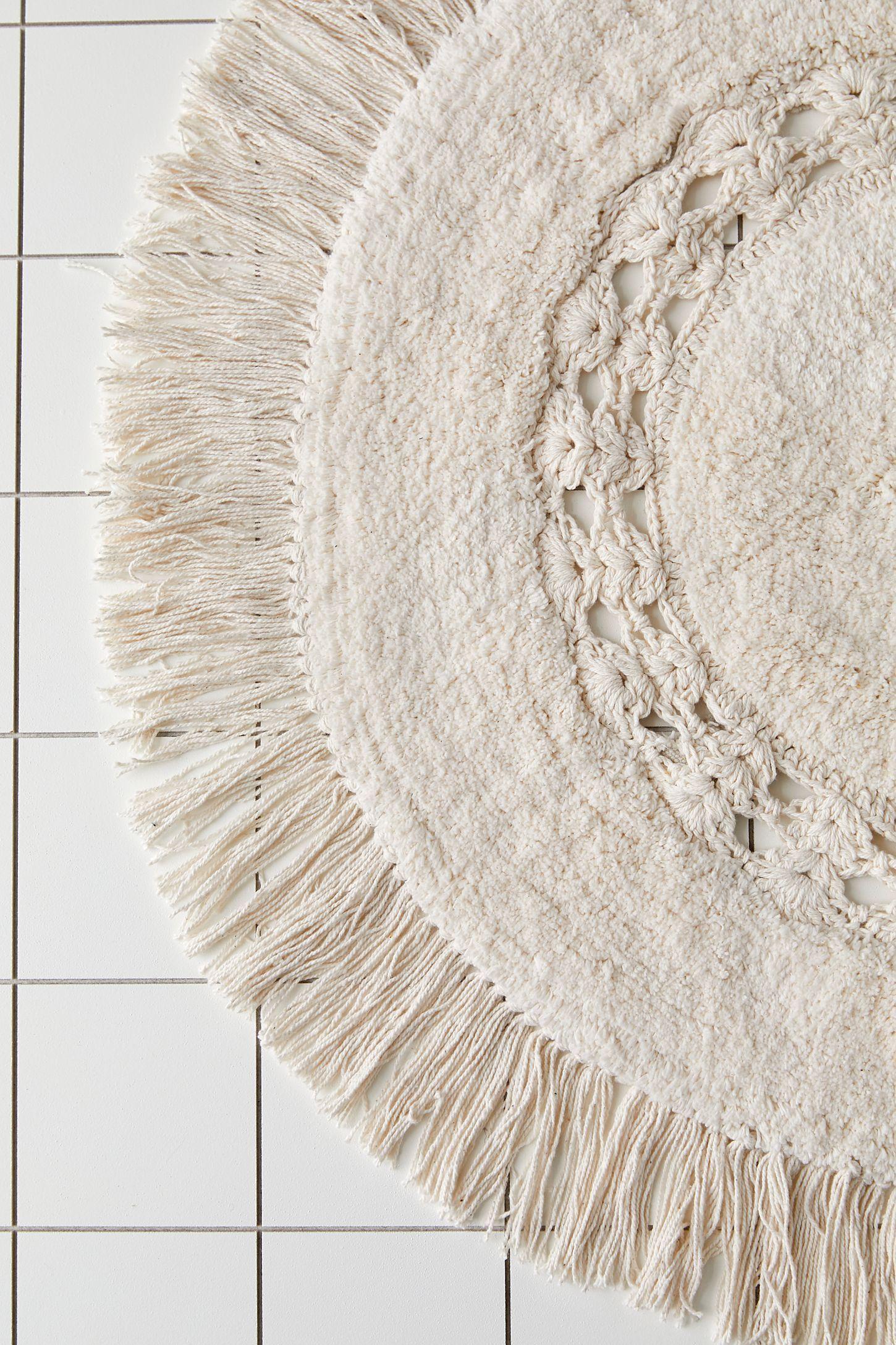Raine Crochet Round Bath Mat In 2020 Round Bath Mats Bath Rugs Bath Mat Diy