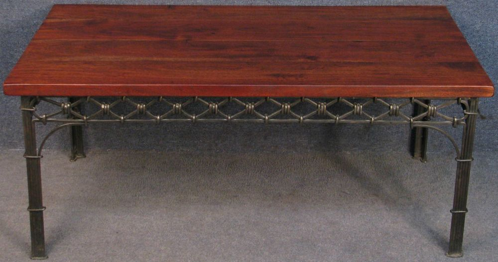laura ashley indian solid rosewood & wrought iron coffee table