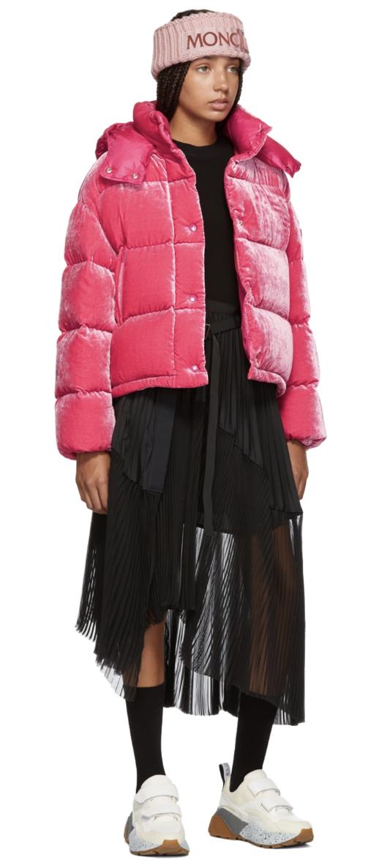 bf7899596e Moncler Pink Velvet Caille Down Jacket - Long sleeve quilted velvet down-filled  jacket in