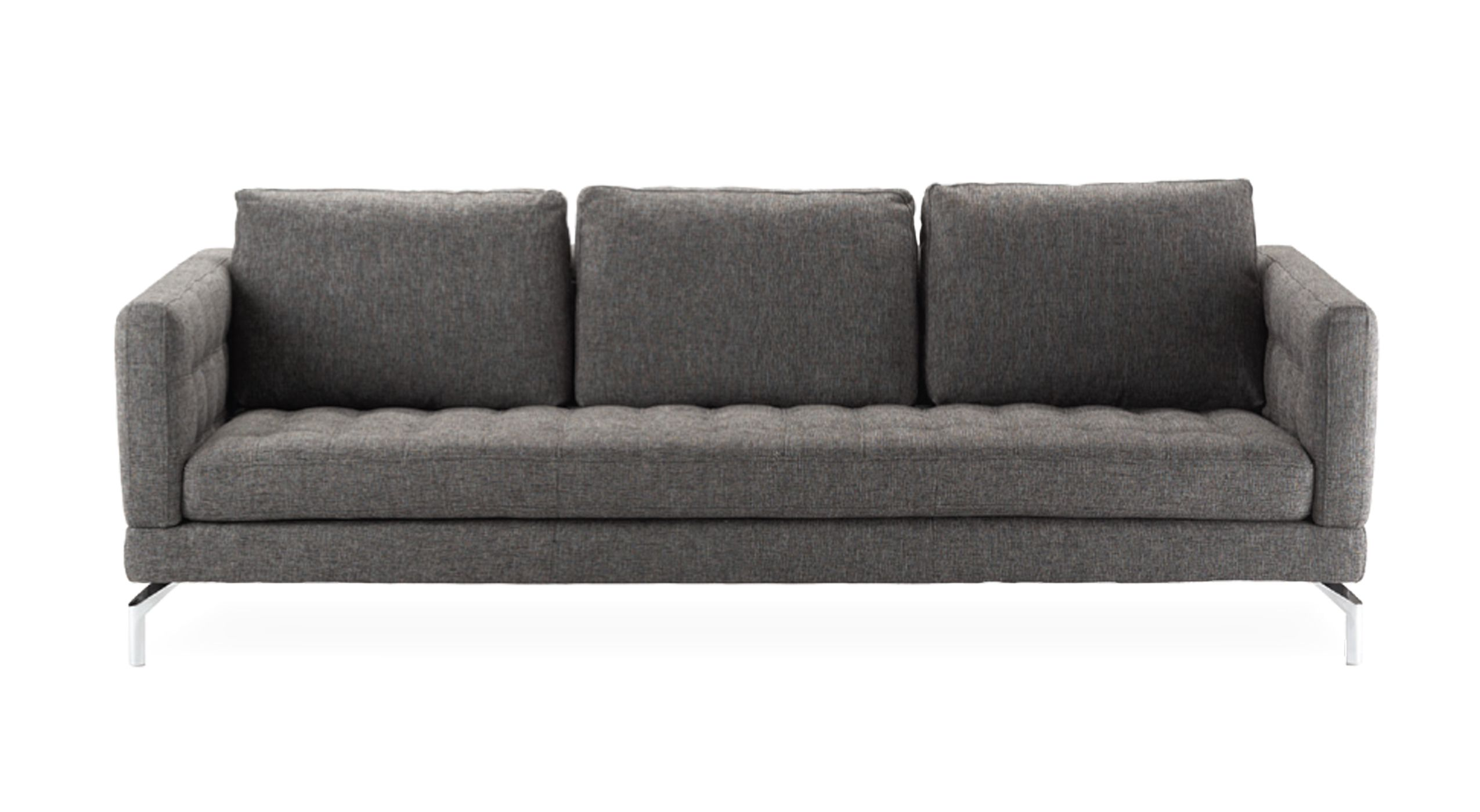 down feather sofa karlstad chaise cover arcadia in charcoal fabric tufted seat with