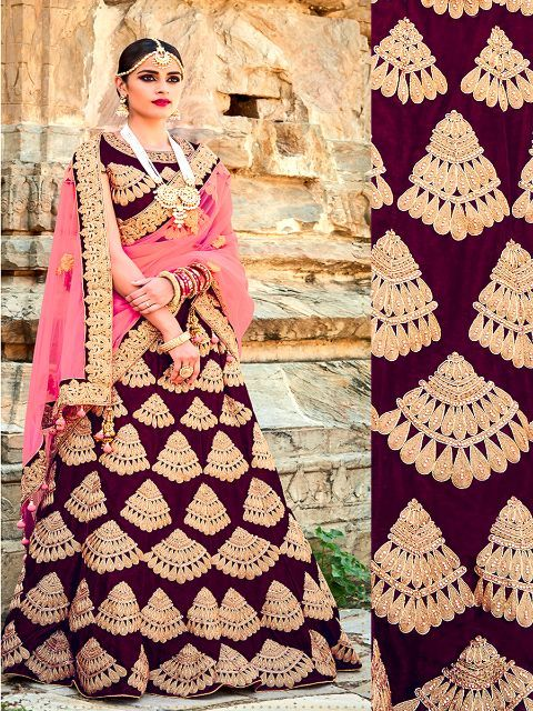 6643ee42da Designer Velvet Lehenga Choli in Wine Color | bridal lehengas ...