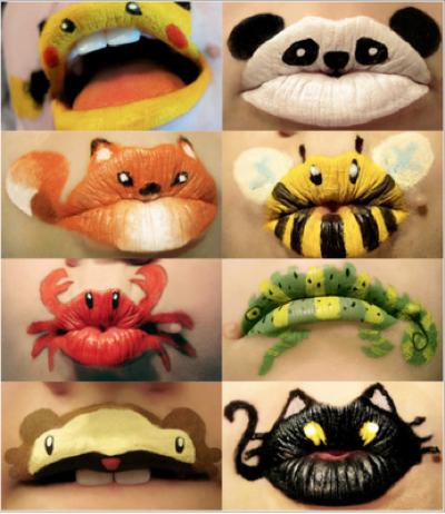 Animais desenhados na boca