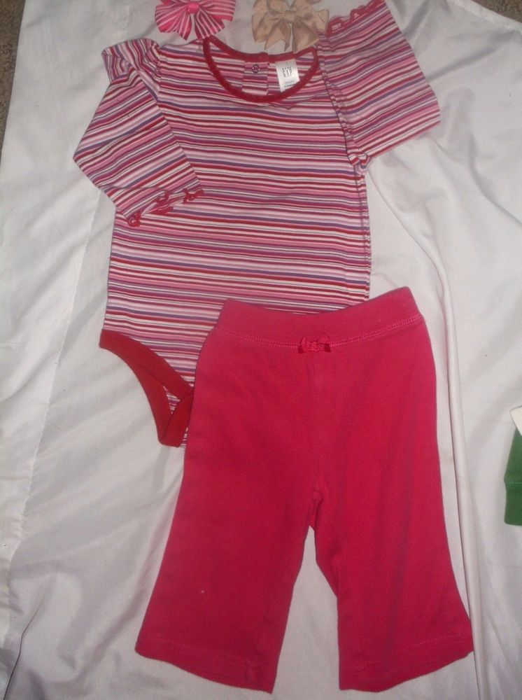 0cff2338219c BABY GAP     3-6M    OUTFIT    TOP-Colrful Stripes-RedPnkPurpWht Hot ...