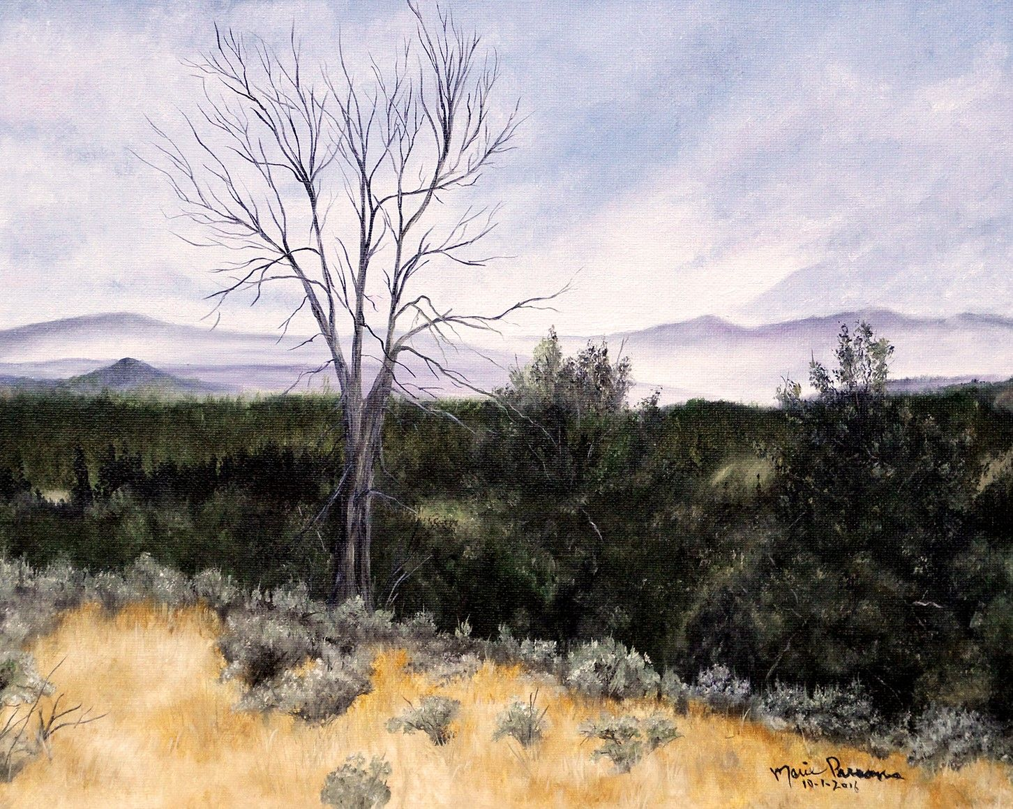 Old dead tree in the Mountains Oil Painting by Artist Marie Parsons