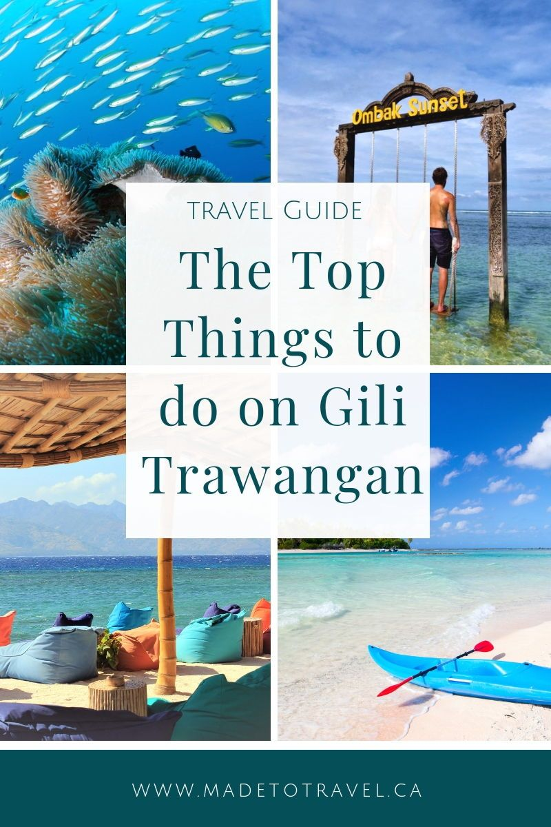 The Best Things to do on Gili Trawangan, Indonesia. Gili T is a short boat ride away from both Bali and Lombok and is sure to be the island destination of your dreams! Click through for information on snorkeling, scuba diving, beach bars, biking the island, the Ombak sunset swing and more! #indonesia #bali #lombok #gilit #gilitrawangan #travel #budgettravel #madetotravel