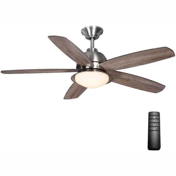 Home Decorators Collection Ackerly 52 In Indoor Outdoor Integrated Led Brushed Nickel Damp Rated Ceiling Fan With Light Kit And Remote Control 56019 The Home Brushed Nickel Ceiling Fan Ceiling Fan With