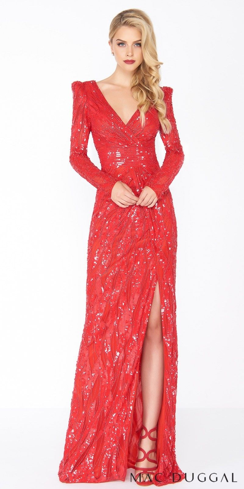 Sequin keyhole open back long sleeve evening dress by mac duggal in