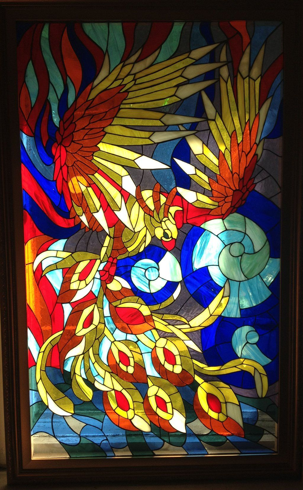 stained glass phoenix bird greek mythology of long lived reborn