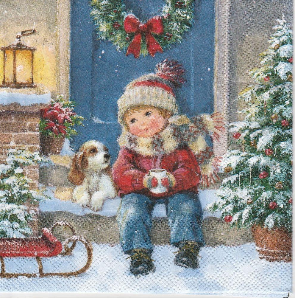 4x Paper Napkins for Decoupage Decopatch Vintage Christmas