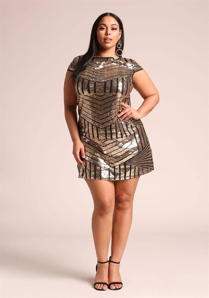 Plus Size Clothing  Plus Size Sequin Shift Dress -9831