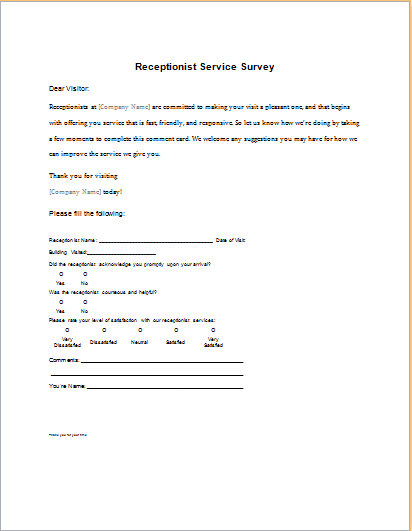 Receptionist Service Survey Form Download At HttpWwwDoxhubOrg