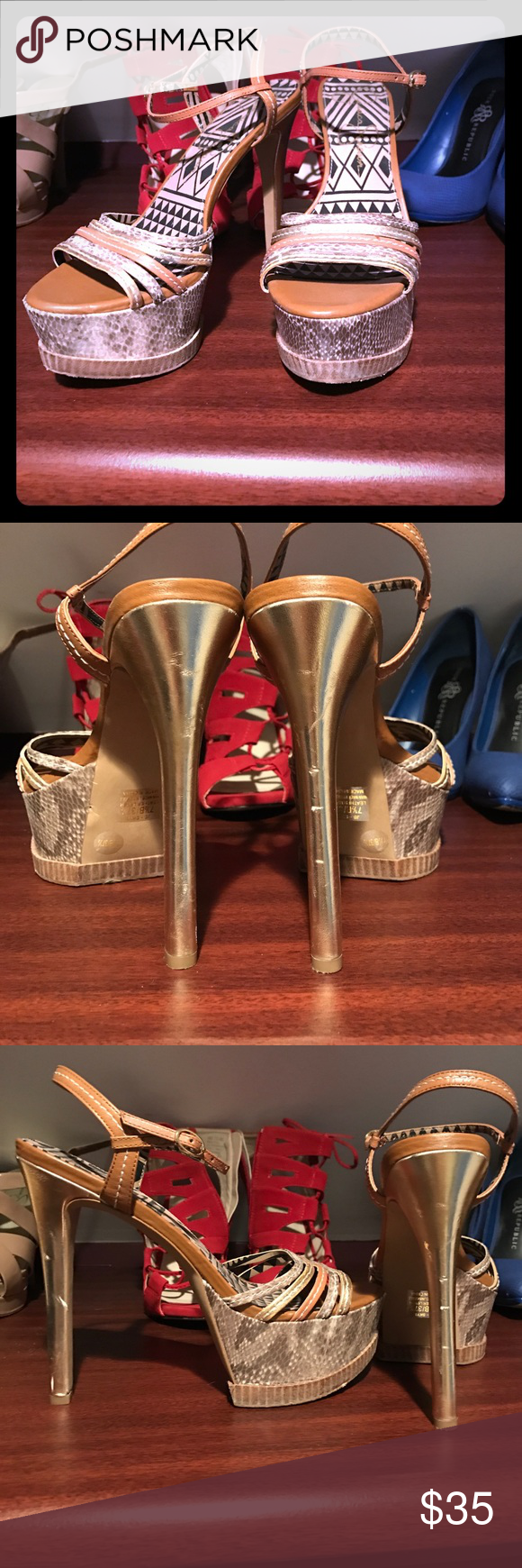 Jessica Simpson Heels These are high heeled sandals. They are tan with gold. There are a few blemishes that you can see in the images. Jessica Simpson Shoes Heels