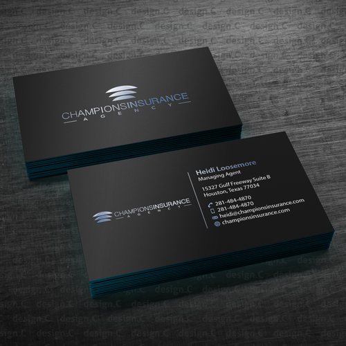 Insurance Agency Needs A Sleek Sophisticated Business Card We Are An Insurance Agency Sophisticated Business Card Business Card Design Custom Business Cards