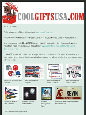 Check out the Latest Promotion from Cool Gifts USA