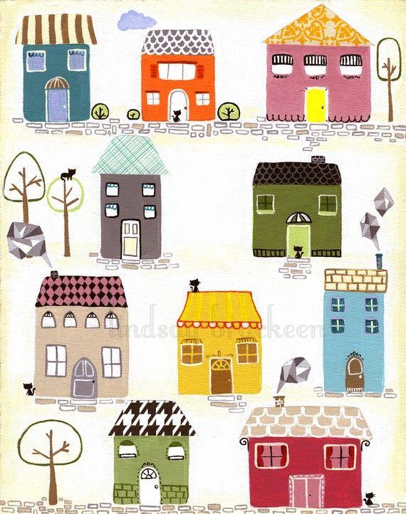 Houses 家 絵 街並み イラスト 街 イラスト
