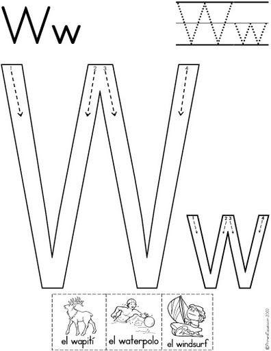 letra w fichas del abecedario y el alfabeto para descargar gratis ...