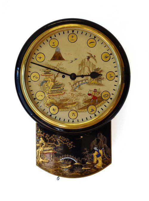 A Rare Late Victorian Black Lacquered Wall Clock With Timepiece Fusee Movement The Case And Dial Are Both In Ex Antique Wall Clocks Clock Wall Clock