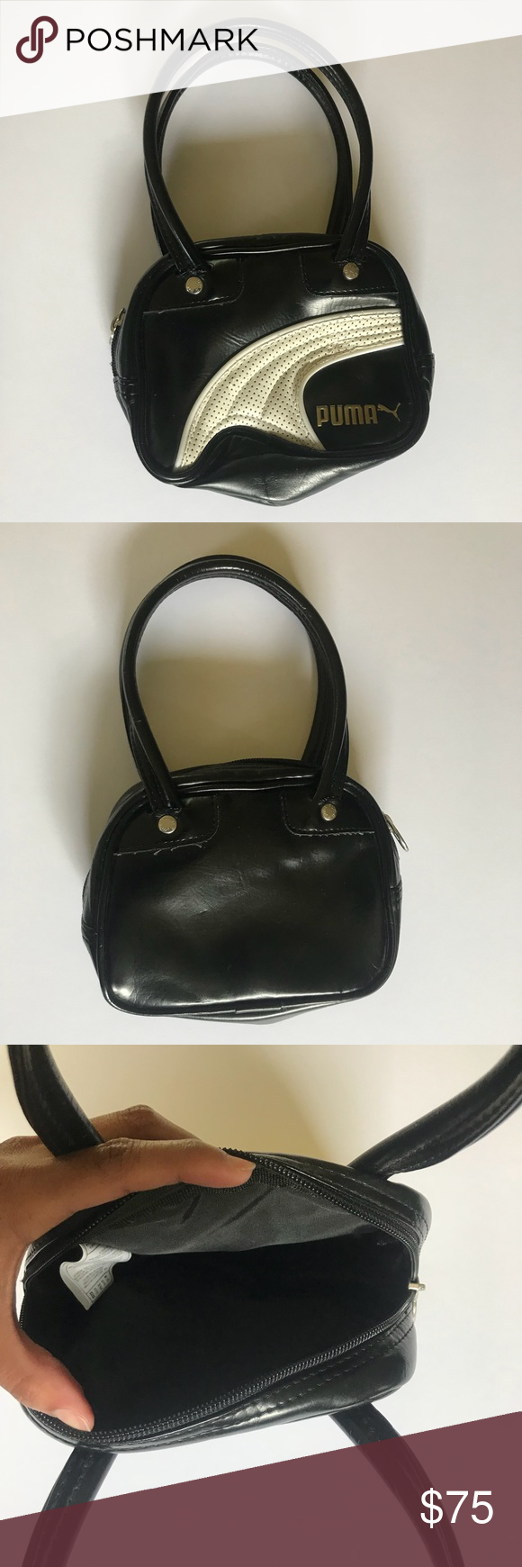 daa4fa36ba Puma Vintage Mini Leather Bag Excellent preowned condition vintage Puma  leather mini bag Approx. 10.5 inches tall (including handles) Approx.