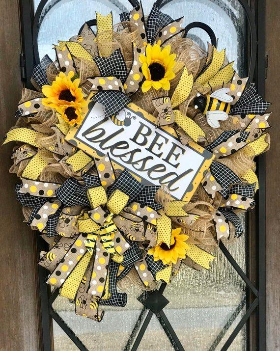 Photo of Sackleinen Sonnenblumenkranz für Tür, Hummel gesegnet Sommerkranz, gelb, christliche Haustür