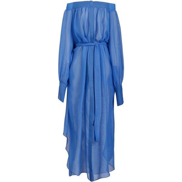 Ginger & Smart Celestial Off The Shoulder Dress (6.673.750 IDR) ❤ liked on Polyvore featuring dresses, blue midi dress, mesh dress, calf length dresses, mesh midi dress and off the shoulder dress